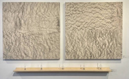 """Acquired by the Art Museum of Texas SL, Amada Miller """"1/64th of an Inch"""" Graphite rubbing on canvas Diptych $2500. """"Hollow Moon Rings Like a Bell"""" Glass,meteorites,iron filament 5 bells $2500. Complete installation $5000."""