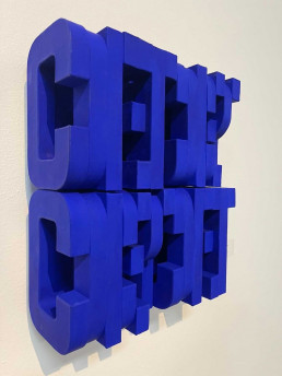 """Jesse Amado """"Content,Concept,Concept,Content"""" 16.5x14.5x10.5""""Yves Klein Acrylic on Molded Paper $3750"""